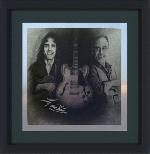 "Larry Carlton Autographed, FRAMED Metallic Print ""Then & Now"" Portrait (For Customers Outside the US)"