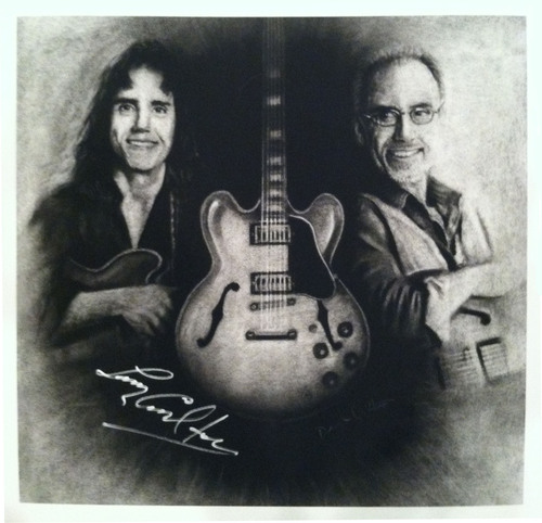 "Larry Carlton Autographed, Paper Print ""Then & Now"" Portrait (Customers Outside the US)"