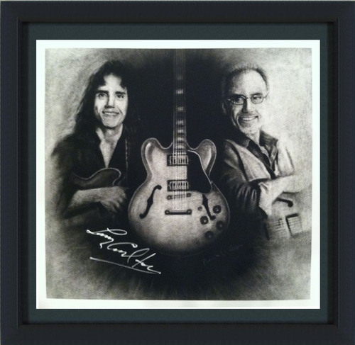 "Larry Carlton Autographed, FRAMED Paper Print ""Then & Now"" Portrait (For Customers Outside the US)"